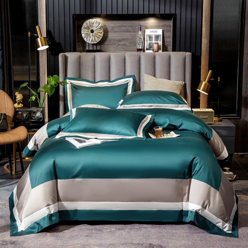 Luxo 1000TC Egipto Algodão Pure Color Color Set Home Têxtil 4 Pcs Verde Retalhamento Colcha de listra / cobertura de edredão Folha de cama de cama