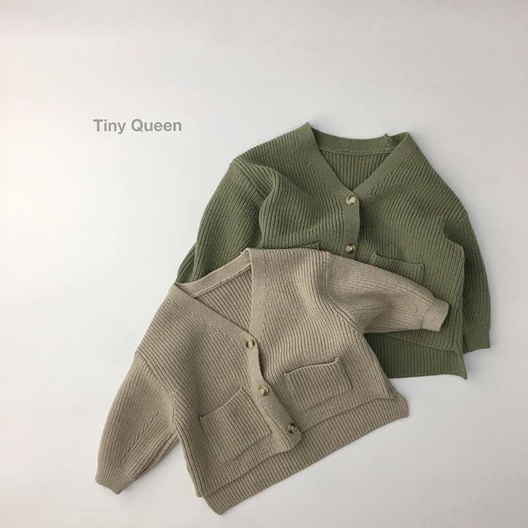 WD INS Toddler Korean Kids Boys Girls Cardigan Unisex Spring Long Sleeve Pockets Sweater Cardigan Kids Long Length Winter Clothes Sweaters