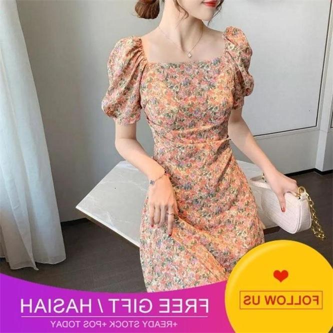 Estilo Bubble Sleeve Quadrado Francês Collar Slim Vestido Floral Mulheres Da Cintura no Verão