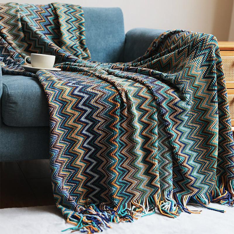 Textile City Bohemia стиль вязаное одеяло зима теплая удобная пашмина кисточек украшения отеля 130x200 для кровати 180CMX200см