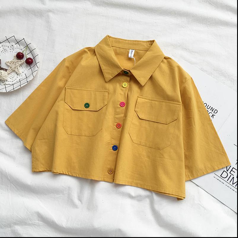 Summer Harajuku Collier Crop Shirt Blanc Coréen Bouton Couillé Chemisier Short Blouse Mesillantes Vêtements Vintage Vert Linge Vert Top Femme