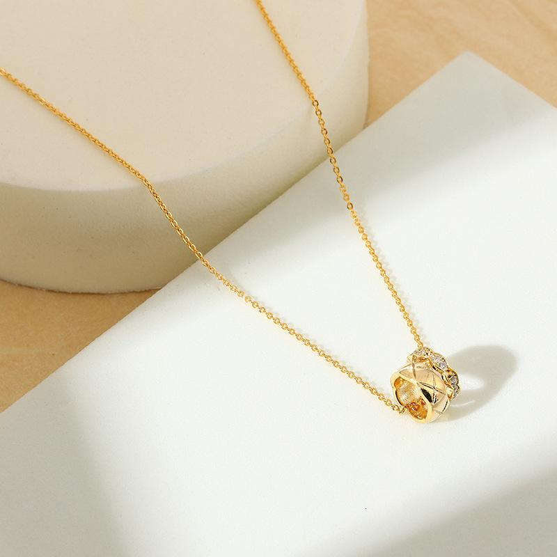 necklace double-layer Ring Cross Pendant simple Nelace with zircon inlaid for women