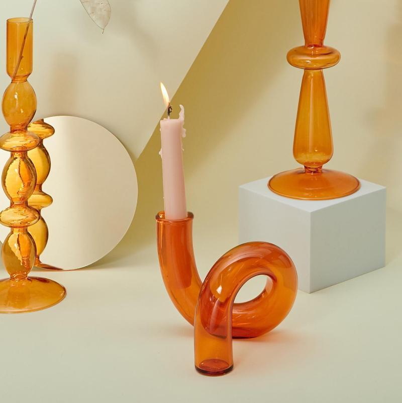 Mumluklar Cam Vazolar Temizle Çiçek Vazo Düğün Centerpieces Ev Dekorasyon Masa Şamdan Tutucu