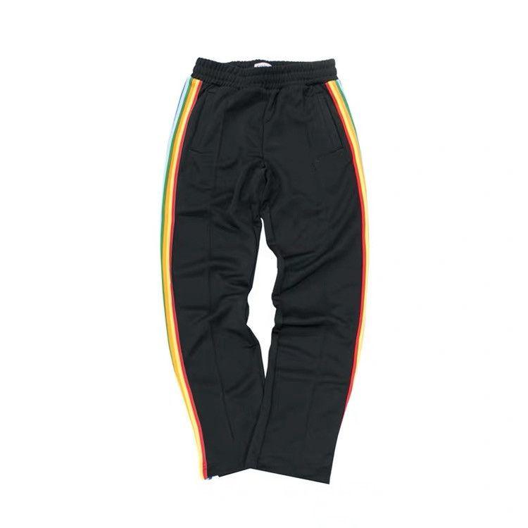 Hommes Slim Classic Track Pantalons Sport Polyester Designer Femmes Élastiquées Lettre de ceinture Lettre à rayures imprimées Long Pantalons longs