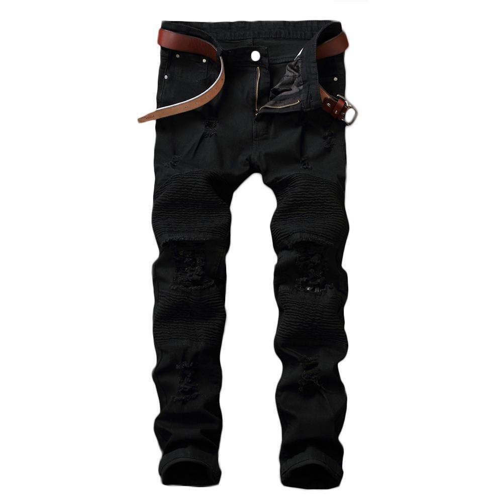 Motorista Hombres Slim Ripped Hole Jeans Color Sólido NY Pantalones rectos Pantalones