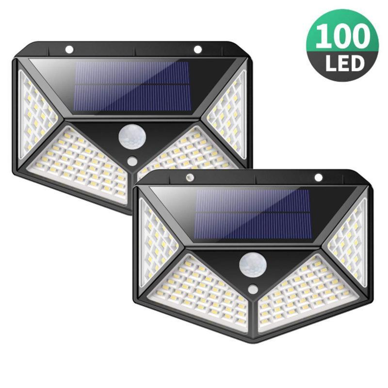 벽 장착 가로등 100 LED 태양 빛 야외 램프 햇빛 3 모드 PIR 모션 센서 정원 장식을위한