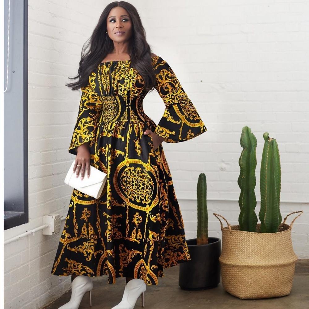 Kadın Artı Boyutu Robe Afrika Femme 2021 Afrika Giyim Uzun Elbise Avrupa Z4ID