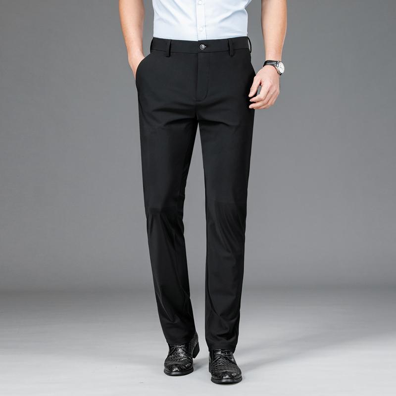Erkek Hafif Pantolon 2021 İlkbahar Yaz Rahat Streç Yüksek Kaliteli Marka Gençlik Iş Rahat Fit Düz Pantolon