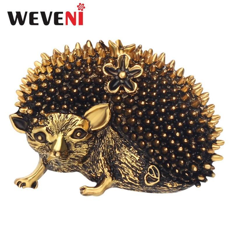 WEVENI Alloy Antique Gold Silver Fashion Hedgehog Brooches Clothes Pin Unique Animal Jewelry For Women Girls Charms Decoration