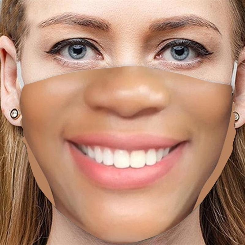2021 New Arrival face cool funny adults Pretend not to wear a mask facemask Cotton masks Fake lifelike special Tricky 391 V2
