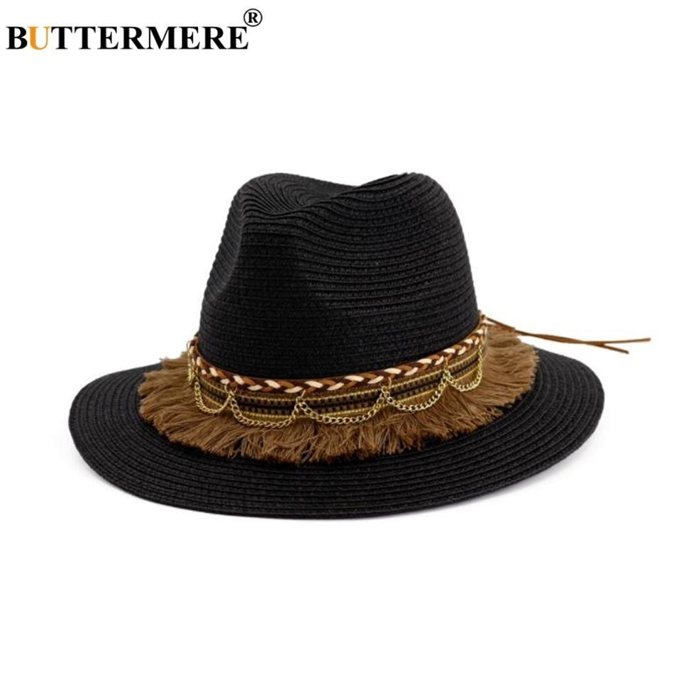 Buttermere Noir Chapeau Sun Chapeau Tassel Cap Femme Beach Paille Chapeau Vintage Dames Chapeaux pour l'été 2021 Nouveau Chapeaux de paille pour femmes ariivales 210311