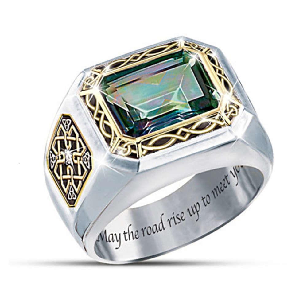 """""""İrlanda Efsanesi"""" Gizemli Topaz Erkek Celtic Düğümü Oyma Zümrüt Yeşil Renk Ayırma Yüzük"""