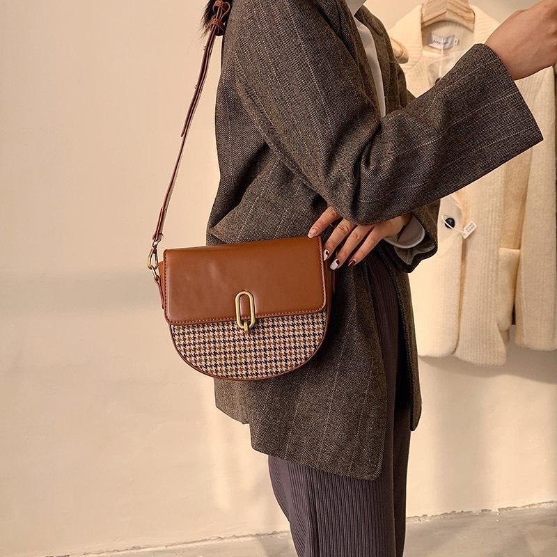 Borsa retrò borsetta nuova sella di lusso marca di lusso plaid famoso 2021 signora donne moda messenger spalla tracolla crossbody designer SJQKI
