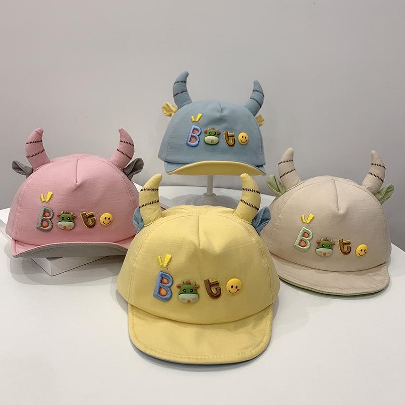 Широкие шляпы Breim Hats Детская бейсболка Весна и летнее Солнца Шляпа Мультфильм Рог Детская Повседневная Мягкая
