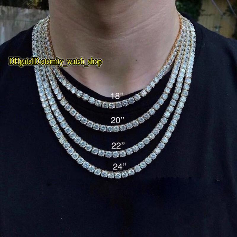 Europeu e americano hip-hop 5mm prateado cz diamantes de tênis cor de tênis mens gelado fora de diamante bracelete colar casal tênis cadeia eternidade