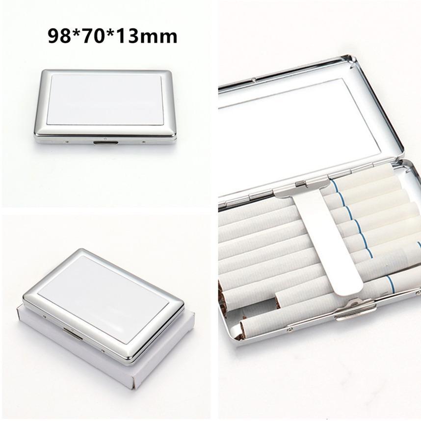 Sublimation Metall Zigarettenetui 98 * 70 * 13mm Einzelseiten Wärmeübertragung Rauchen Zubehör DIY Blanks Zigarettenkiste Schneller Versand A12