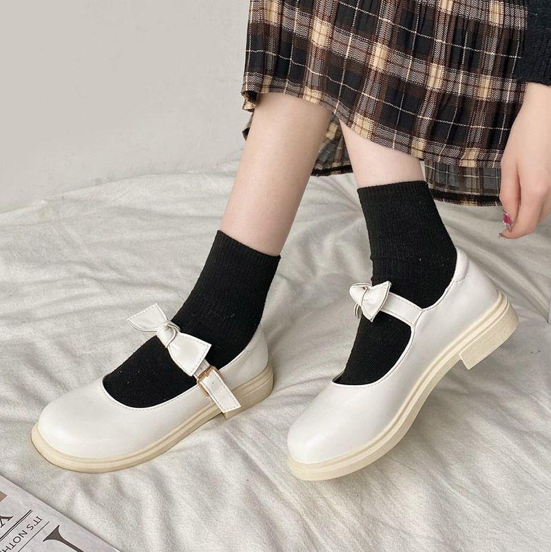 2021 Bahar Lolita Ayakkabı Yay Mary Janes Ayakkabı Platformu Deri Kızlar Ayakkabı Yuvarlak Ayak Rahat Ayakkabı Toka Kayış Mujer 8934N