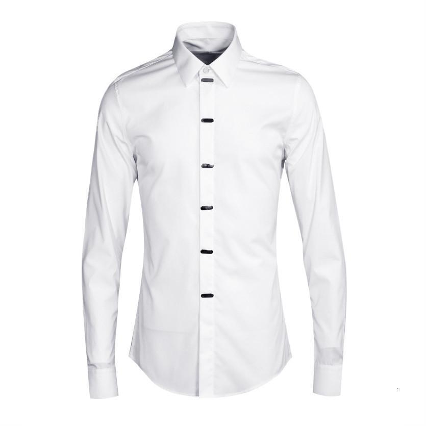 2021 Nuova primavera ed estate placcatura in metallo decorativo camicie da uomo decorativo all'ingrosso tendenza mens europa stile manica lunga camicia maschio chemise rpmq