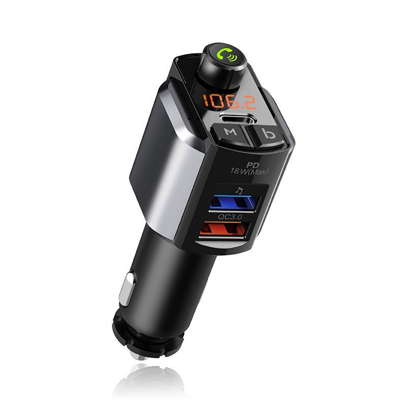 C69 Auto Bluetooth PD18W Schnellladegerät FM Sender Dual USB Ladebatterie Spannungserkennung U Disk Spielen