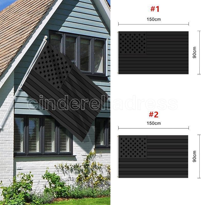 DHL Schneller Versand Alle schwarzen amerikanischen Flagge 3x5 ft drucken us usa blackout taktische tülle banner fahnen 90 * 150 cm