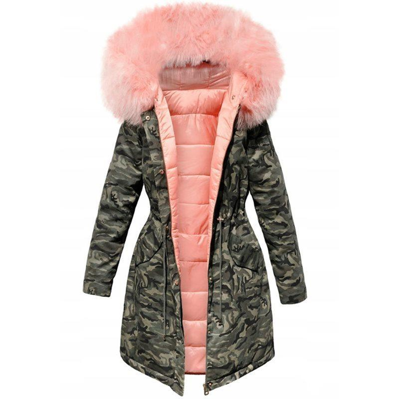 Kapüşonlu Parkas Ceket Kış Coat Kadınlar Gevşek Parka Kürk Yaka Pamuk Yastıklı JA MGN0