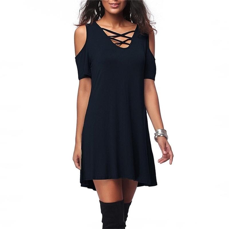 Femmes Summer Short Sans Manches Haute Qualité Plus Taille 6xl Robes Noir Nouvelle Mode Nouveau Bandage V-Back Robe décontractée 210312