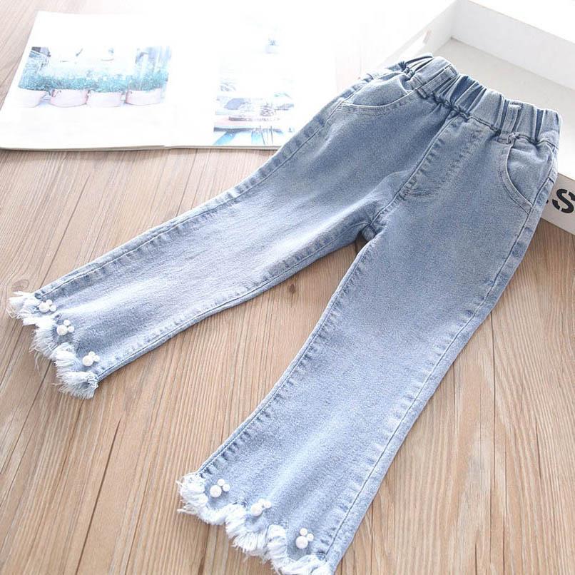 Girls Jeans Kids Pants Denim Pearl Tassels Girls Trousers Spring Autumn Kids Skinny Jeans Wide leg pants Children Clothes 2-6Y B3972