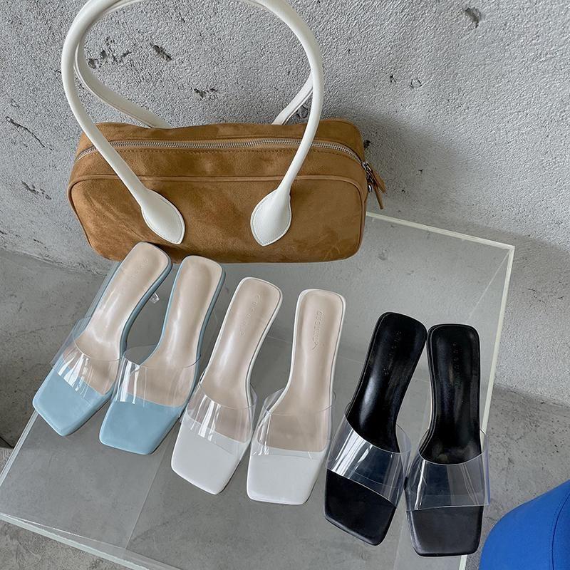 Горячая распродажа-мода женщины тапочки прозрачные слайды прозрачные середины каблуки летние повседневные насосы вечеринка платье обувь синий / черный / белый размер 35-39