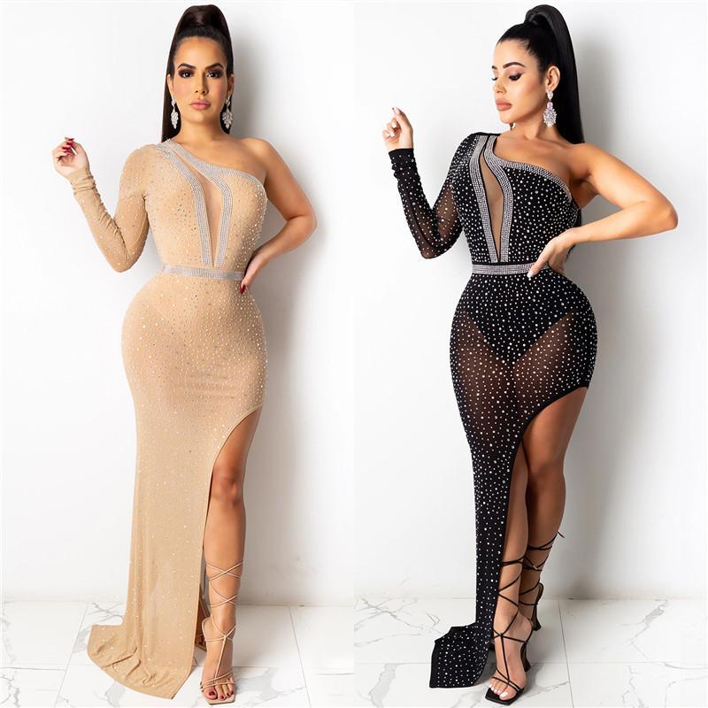 2021 Новая женская перспектива нерегулярный длинный стиль сексуальный ночной клуб модный набор шнек круглый воротник европейские и американские алмазные платья