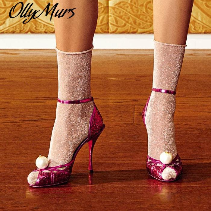 Elegant ladies shinning glitter sandal sexy fish toe high heels ankle strap wedding party shoes woman
