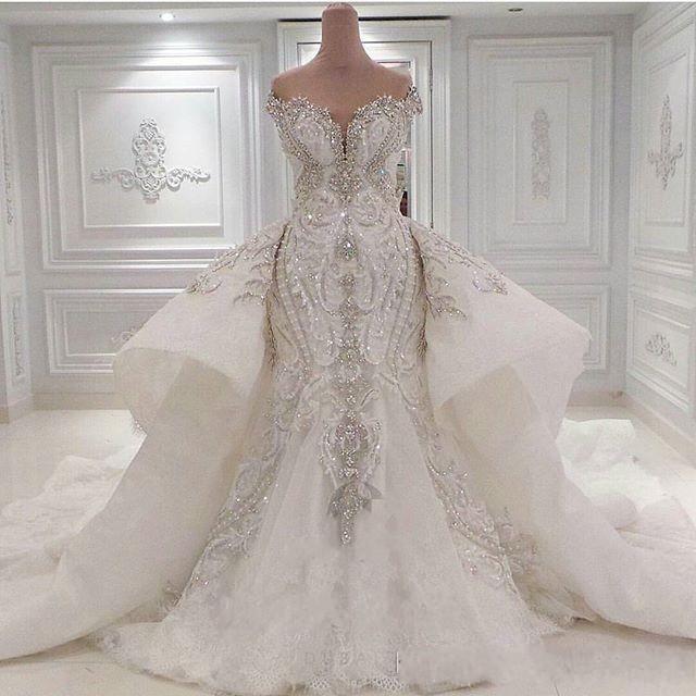 2021 Mermaid Crystal Luxury Wedding Dresses Bridal Gowns Overskirts Off Shoulder Lace Ruched Sparkle Rhinstone Crystal Dubai Vestidos De Novia Custom Plus Size