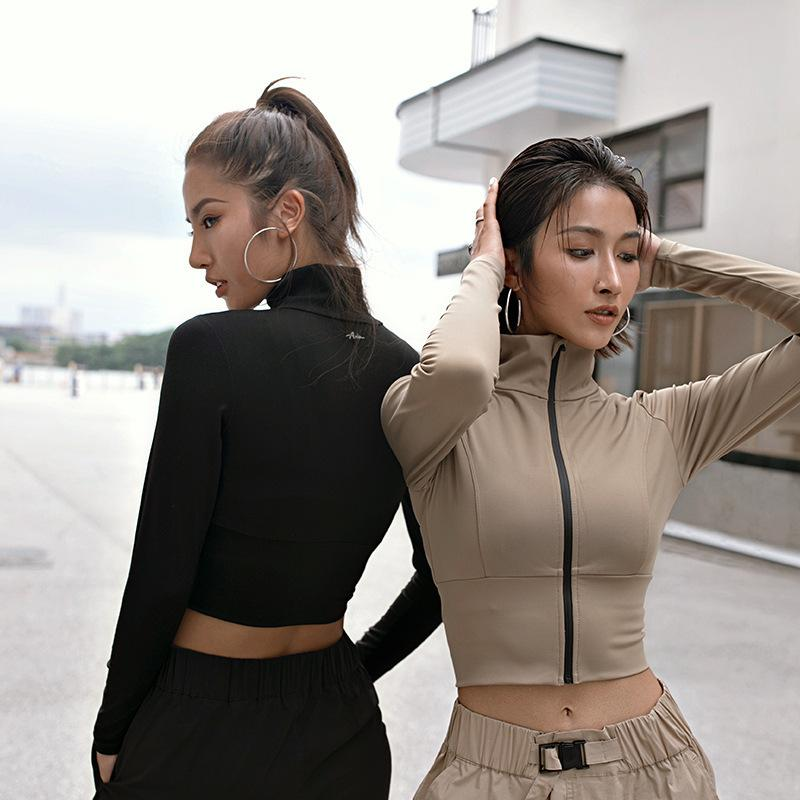 Kadın Spor Yoga Coat Kırpma Üst Sıkı Rahat Seksi kadın Uzun Kollu Fermuar Top 2020 Moda Kadın Bluzlar 3 Renkler