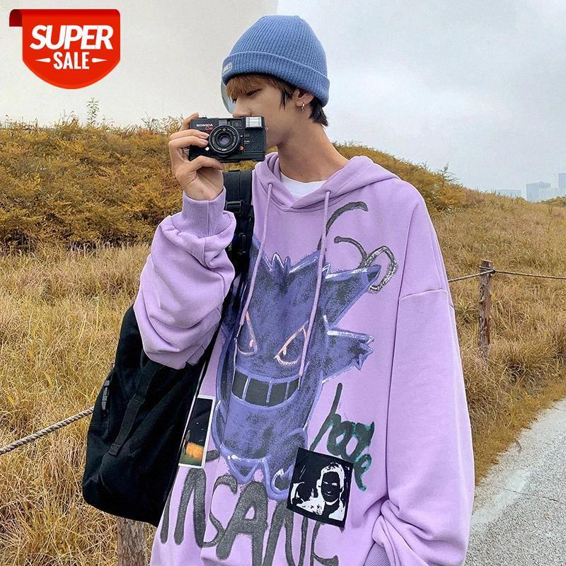 Nuevo otoño invierno nuevo diablo sudadera con capucha hombres moda casual capucha suelta fleece hip hop streetwear para hombre sudadera anime ropa # xi8e