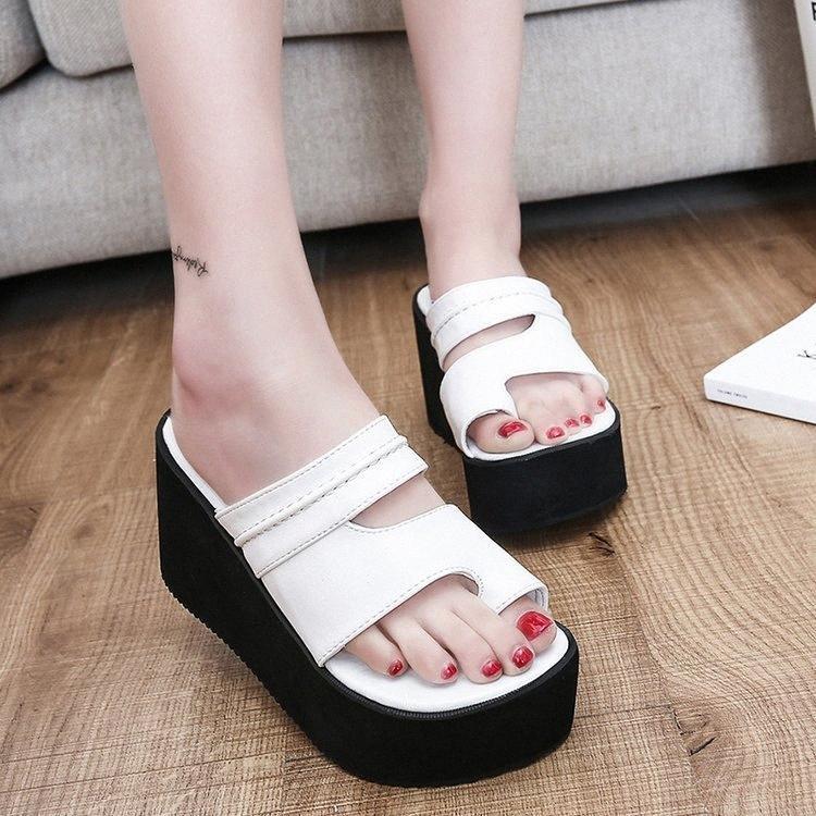 Sıcak Satış-Moda Eğlence Slaytlar Kadınlar Dışında Yüksek Takozlar Terlik Yaz Rahat Dikiş Bayanlar Ayakkabı Üzerinde Slip Kayma Z08Q #