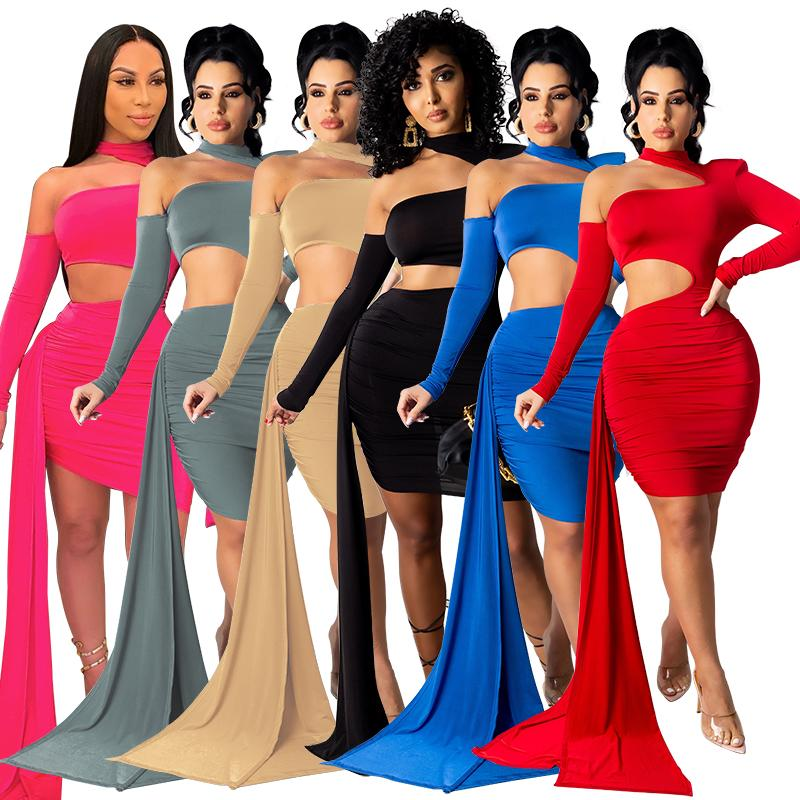 Women Summer Casual Dresses Sexy Ripped Designer Long Sleeve Fashion Backless Nightclub High Neck Turtleneck Hollow Out Wed Cocktail Mini Short Party Dress