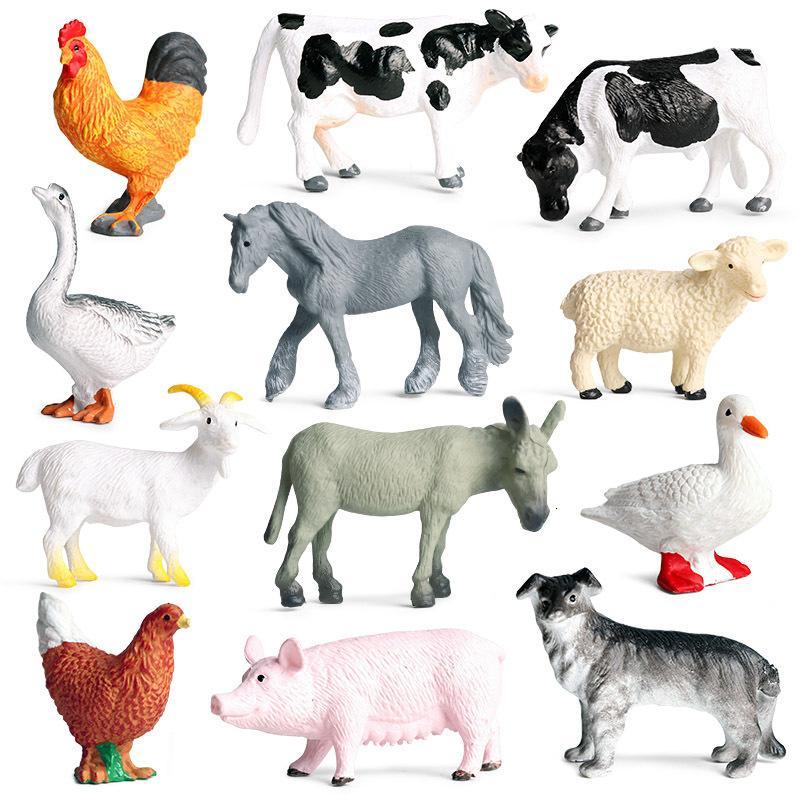Новые 12 шт. / Лот мини-фермерские животные животные действия фигурки симуляции модели свинья утка курица гусиная лошадь корова собака козла медведь ролевая игра