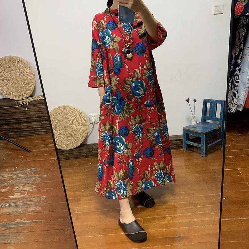 Etnik kadın Uzun Pamuk ve Keten Büyük Renk Gevşek Boyutu Elbise Çin Retro Çapraz Toka Çay Giyim Sonbahar 210303