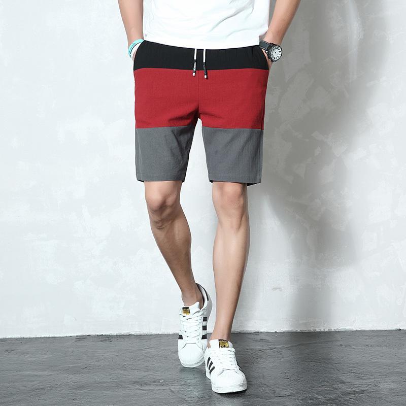 Nova marca Casual Shorts Men Cintura elástica Verão Beach Algodão Linho Bermuda Knee Comprimento Moda Respirável Shorts Quick Seco K40 210310