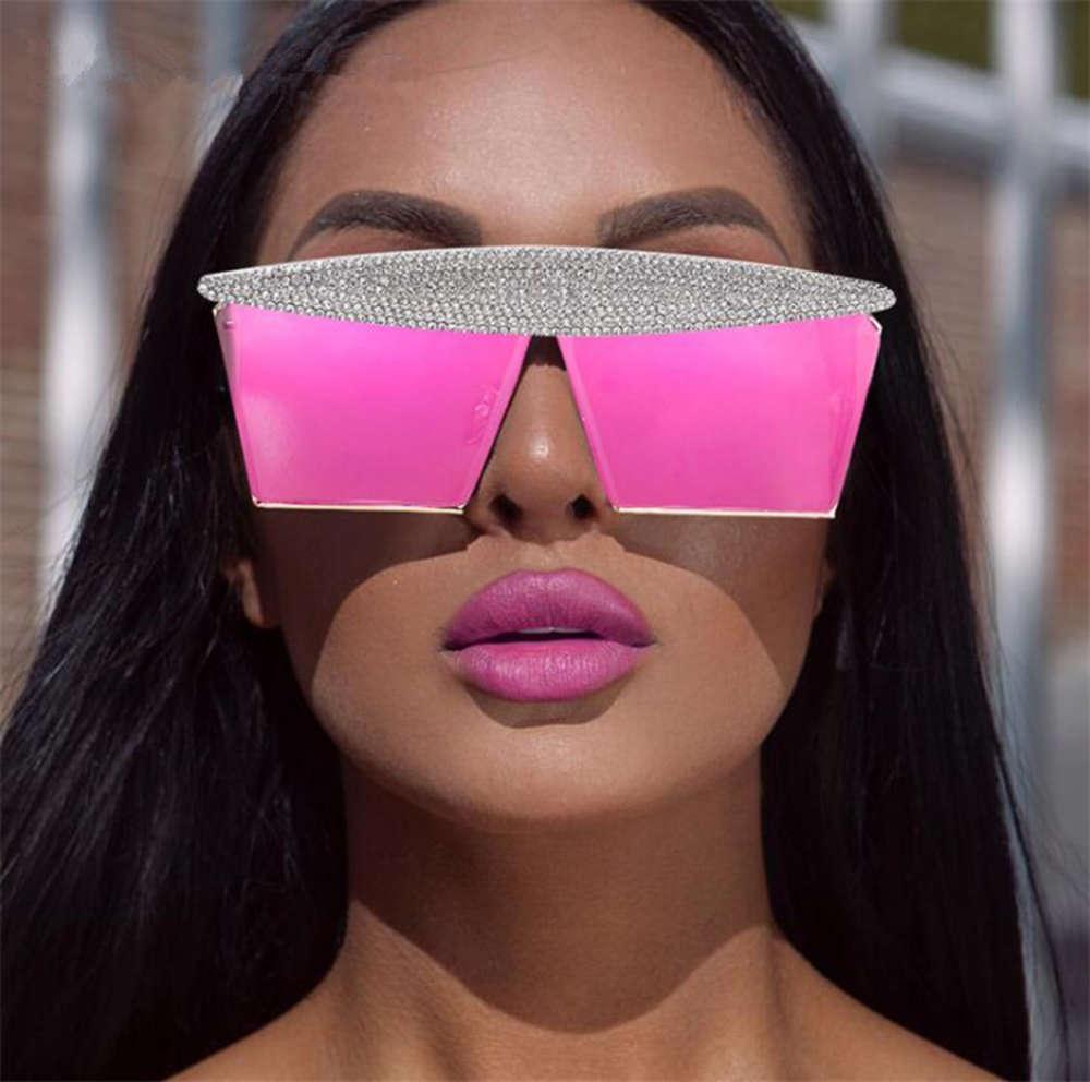 2021 Moda Sexy Sunglass Mulheres Reflexivas Espelho Sol Luxo Diamante Diamante Sunglass para mulheres