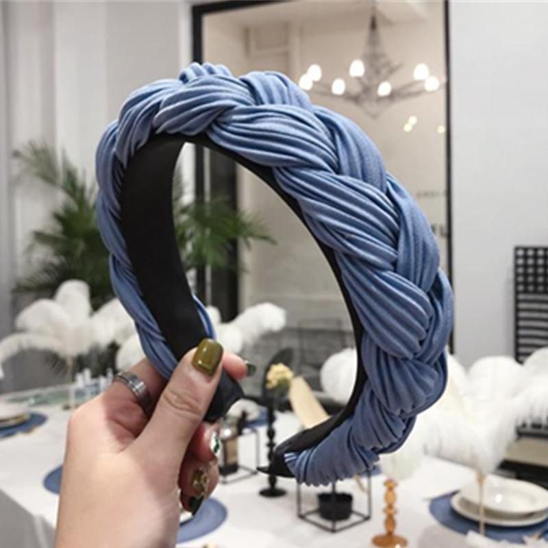 Blaue Zöpfe Stirnband für Frauen Haarschmuck Große Weberei Zöpfe Haarband Feste Kopf Band Erwachsene Headwear Plain Stirnband