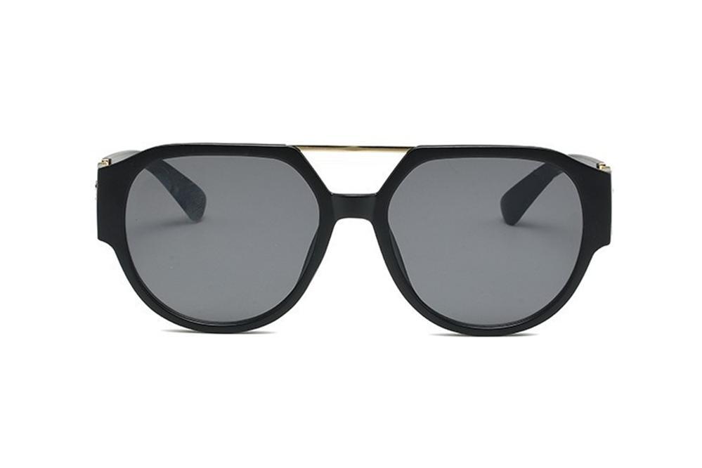 Gläser Sonnenbrille Schwarzes Gold Graue Linse Geometrische Übergroße Männer Frauen Sunglasse mit Tags Übergroße Oval Damen Luxus Sonnenglasse Linling888
