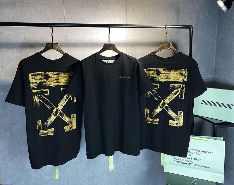 2021 Новая мода бренда мужская высокая версия 2021S золотая масло кисть с коротким рукавом футболка