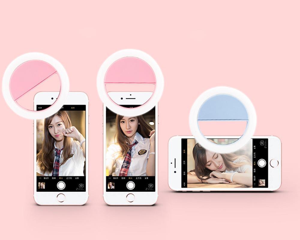 Charge USB LED Selfie Bague Light Mobile Téléphone Lentille LED Selfie Lamping Bague pour iPhone pour Samsung Xiaomi