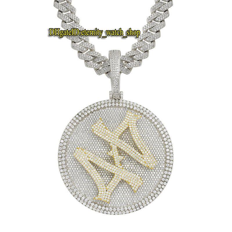 Eternidade 44 rotatable grande plataforma giratória grande indústria de giro micro-set cz diamantes de alta qualidade colar de masculinas colar hip hop gelado pingente de diamante