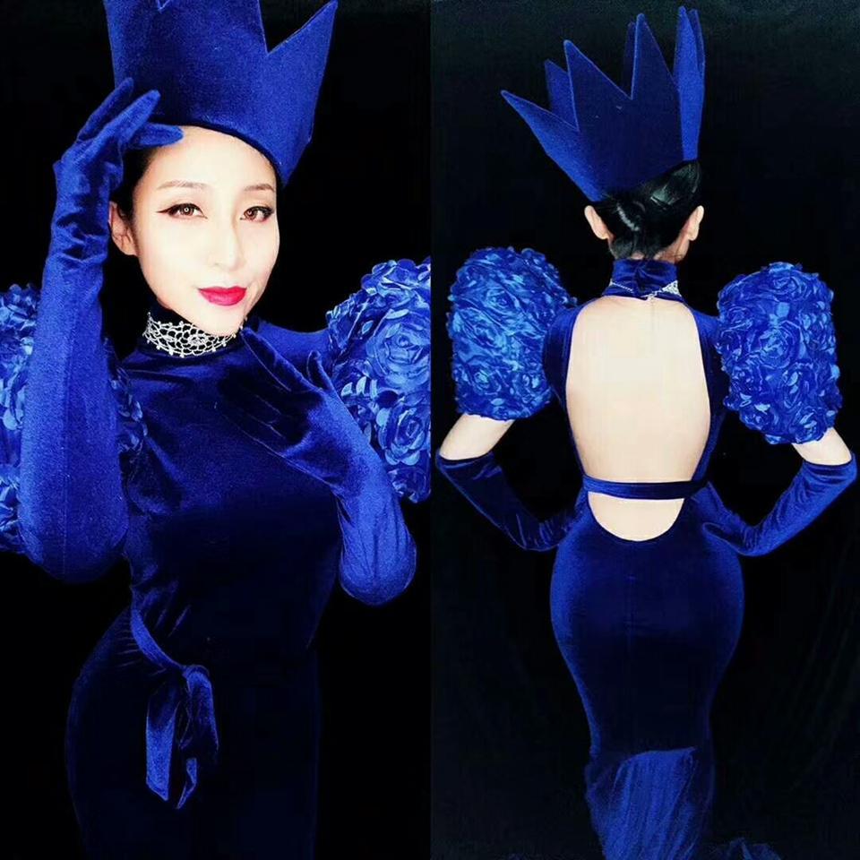 Мода синее платье женщины сексуальные длинные поездки на день рождения платье сцена костюм выпускного вечера вечера праздновать производительность хвостовые платья наряды