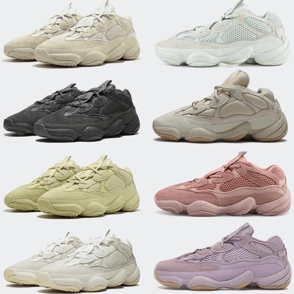 Top Sandals Regalo con scatola Kanye 500 mens Scarpe Soft Vision Bone Bone Utility Black Blush Super Moon Giallo Salt Sale Donne Donne Sport Sneakers Scarpe da ginnastica Taglia 36-46