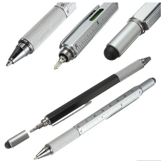 Ballpoint Pens 1 Шт. / Лот Прибытие Инструмент Ручка Отвертка Правитель Уровень Дух с верхним и Масштабным Многофункциональным металлом Бесплатный корабль