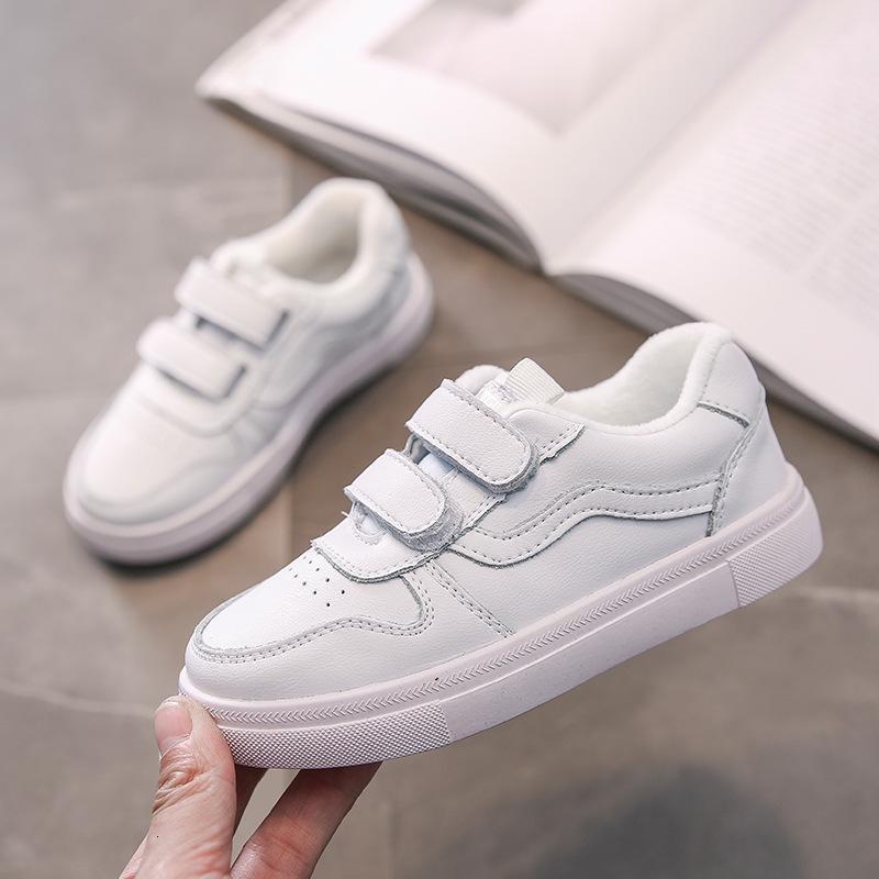 Primavera 2021 Nuevo cuero transpirable Hombres Big Tablero de moda para niños Pequeños zapatos blancos para niña