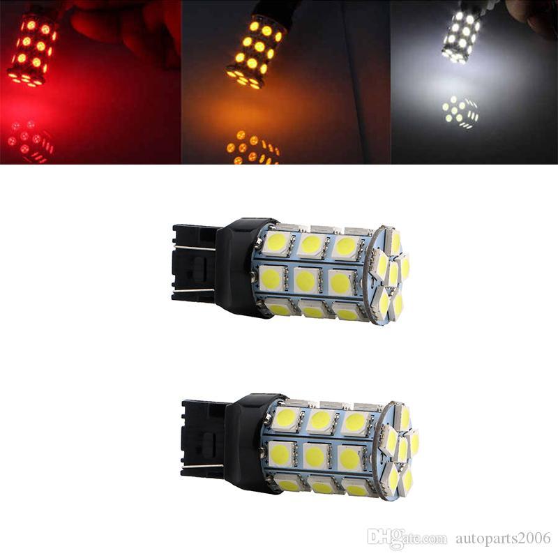 Hotsale T20 7443 W21 / 5W T20 7440 5050 27SMD ضوء LED لمبة السيارات الفرامل سيارة بدوره توقف الخلفية