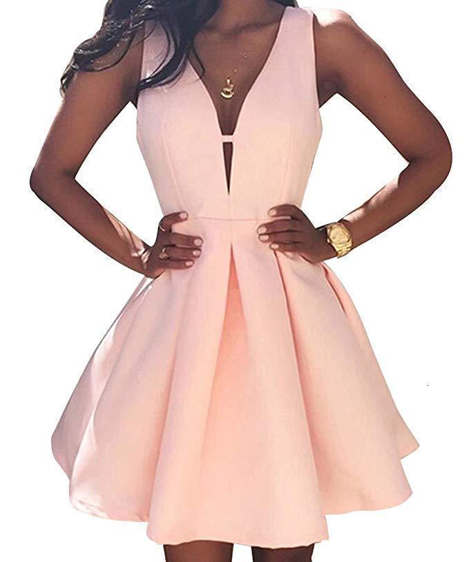 AndoTek 2021 Новый Сексуальный короткий коктейль ES Bridal Банкетный розовый пятно без спинки Party Formate Homecoming Robe De Soiree 0 ЮНО